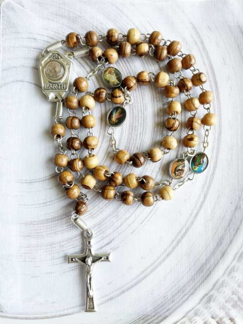 Wood Rosary from Israel with Real Holy Land Earth