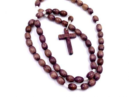 Plain Brown Wood Rosary Beads From Mexico