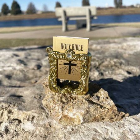 Gold Mini Bible Keychain KJV