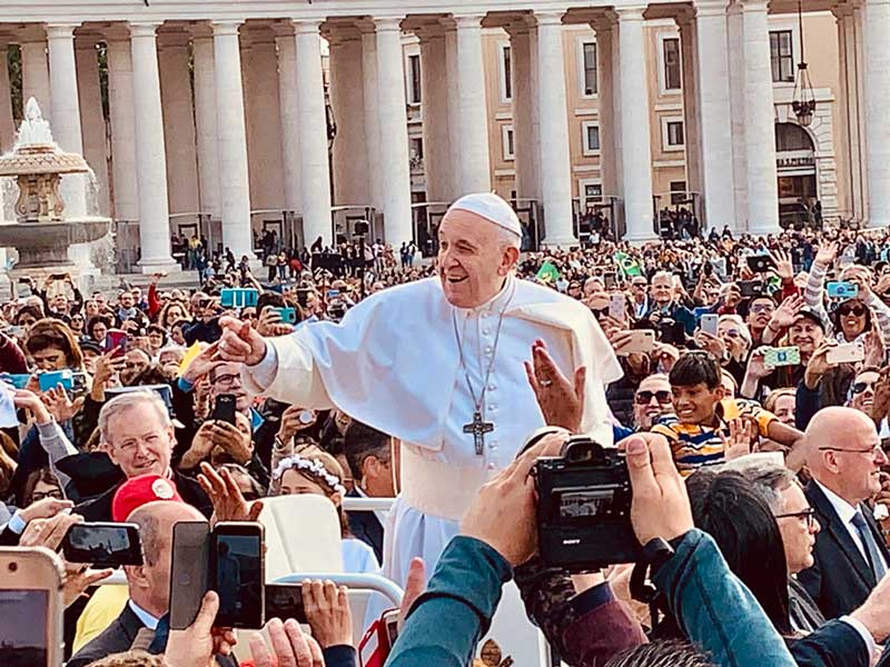 Pope Francis at his weekly audience in St. Peter's Square