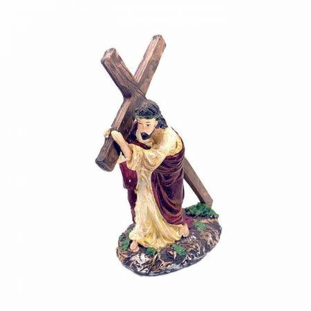 Painted Resin Statue of Christ Carrying the Cross