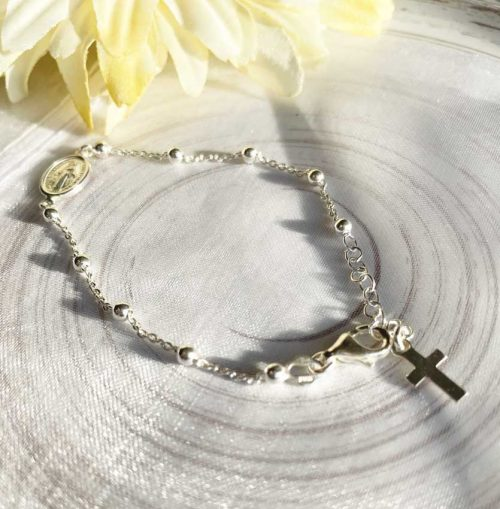 Miraculous Medal Sterling Silver Rosary Bracelet