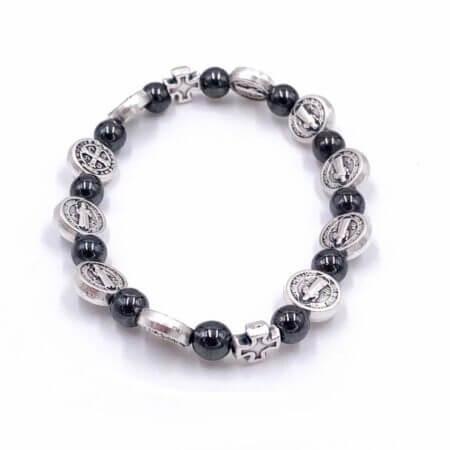 Saint Benedict Bracelet with Hematite Beads