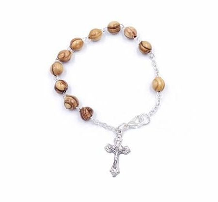 "7.5"" Silver Plated Olive Wood Rosary Bracelet"
