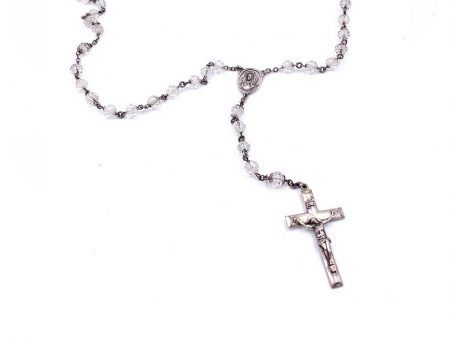 Vintage Creed Sterling Rosary with Faceted Crystal Beads