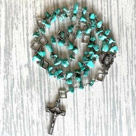 Imitation Turquoise Rosary with Square Connectors